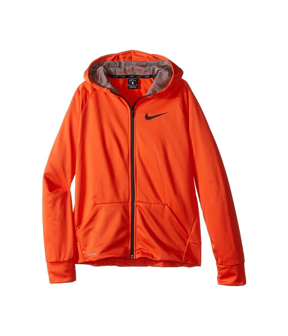 Nike Kids - Therma Full-Zip Hoodie (Little Kids/Big Kids) (Team Orange/Dark Steel Grey) Boy's Sweatshirt
