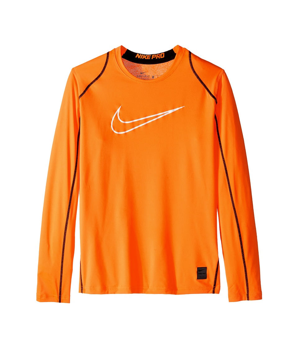 Nike Kids - Cool HBR Fitted Long Sleeve (Little Kids/Big Kids) (Total Orange/Black/White) Boy's Workout
