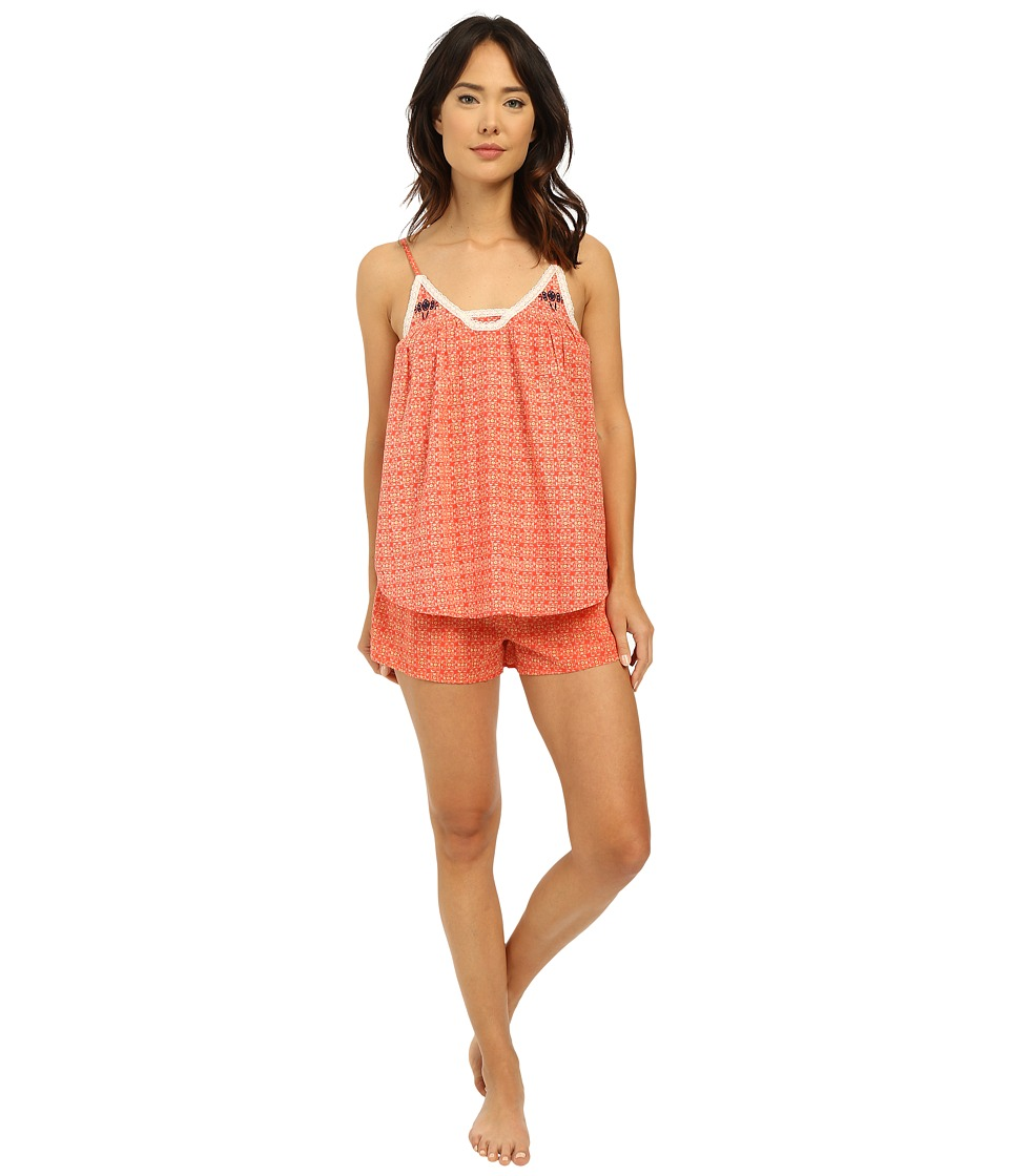 Lucky Brand - Woven Shorty Set (Coral Mosaic) Women's Pajama Sets
