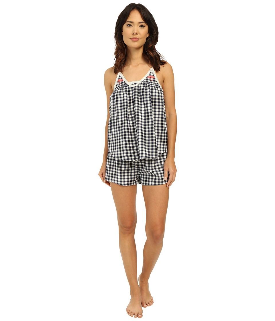Lucky Brand - Woven Shorty Set (Navy Gingham) Women's Pajama Sets