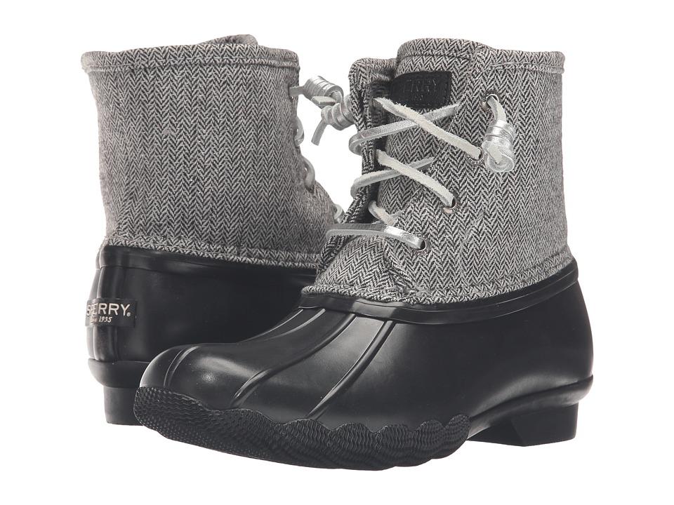 Sperry Kids - Saltwater Boot (Little Kid/Big Kid) (Black Herringbone) Girls Shoes