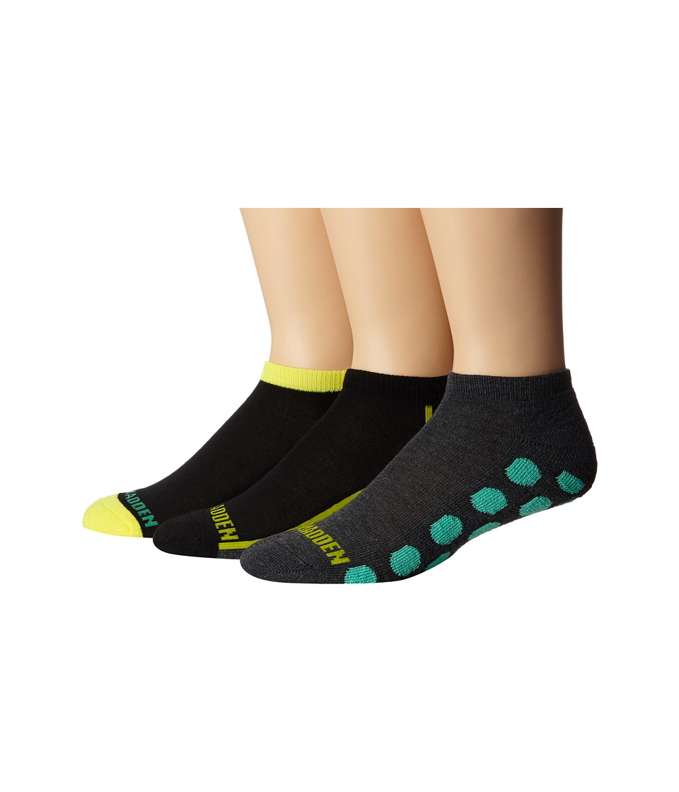 Steve Madden - 3-Pack Athletic Low Cut 1/2 Cushion and Arch Support (Charcoal/Yellow) Men's Low Cut Socks Shoes