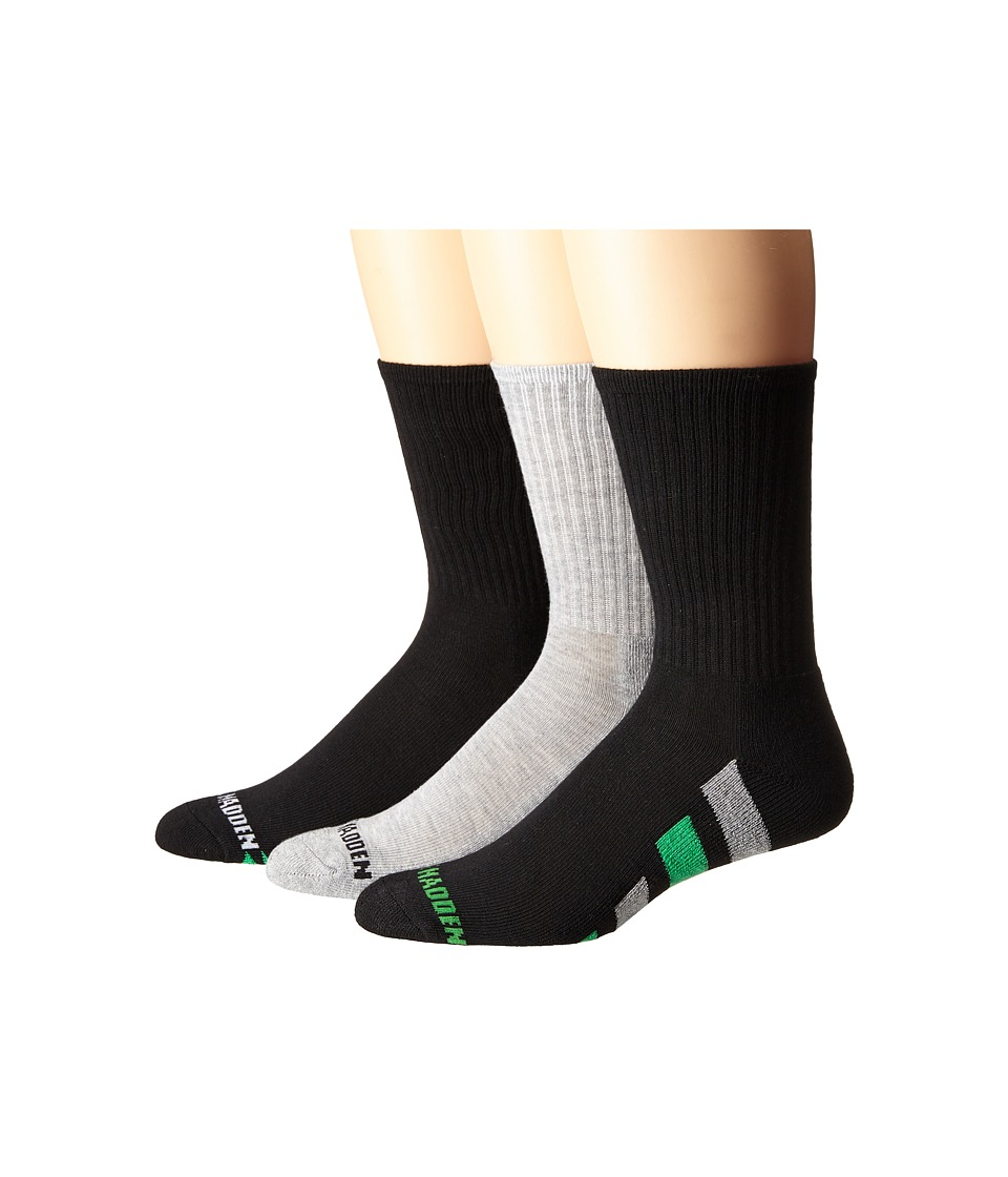 Steve Madden - 3-Pack Athletic Crew with Arch Support and 1/2 Cushion (Black/Heather Grey/Green) Men's Crew Cut Socks Shoes