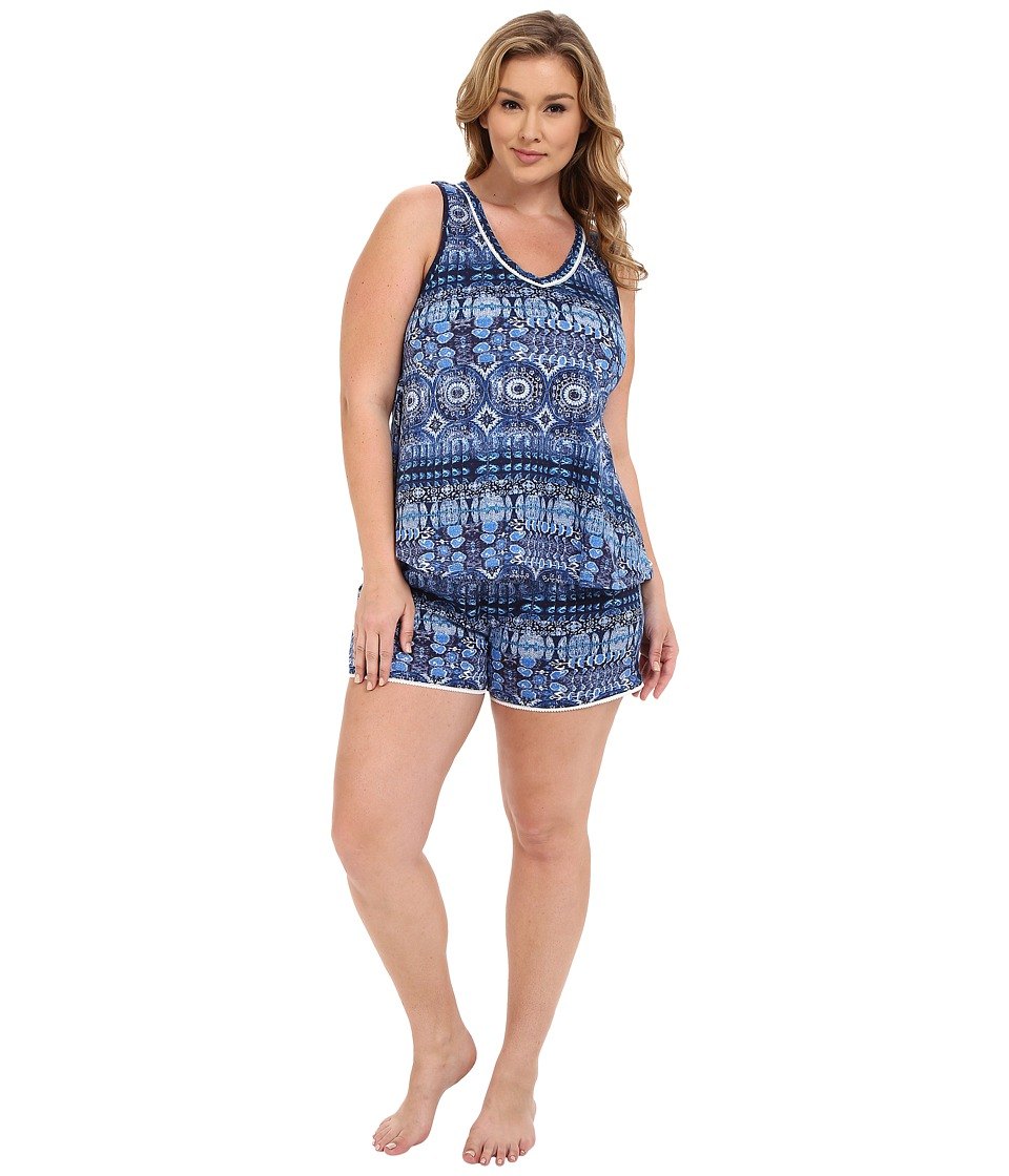 Lucky Brand - Plus Size Knit Shorty Set (Persian Holiday) Women's Pajama Sets