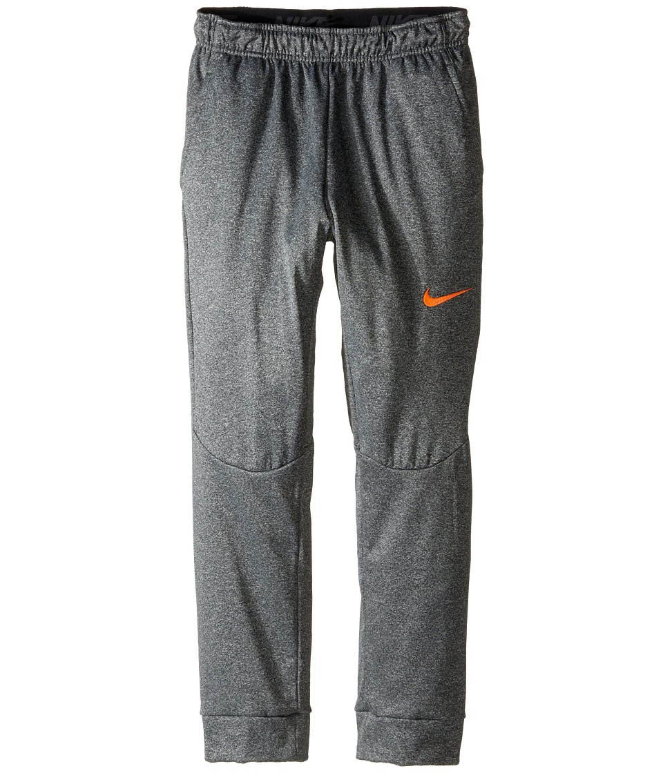 Nike Kids - Therma Tapered Pants (Little Kids/Big Kids) (Charcoal Heather/Total Orange) Boy's Casual Pants