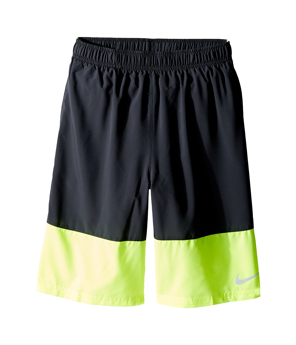 Nike Kids - YA Distance Short (Little Kids/Big Kids) (Black/Volt/Volt/Reflective Silver) Boy's Shorts