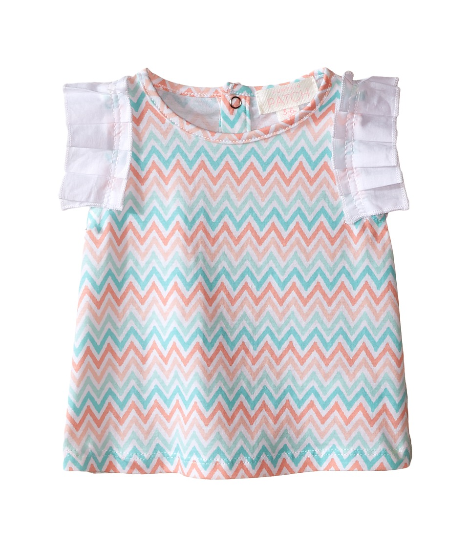 Pumpkin Patch Kids - Chevron Print Top (Infant) (Super White) Girl's Short Sleeve Pullover