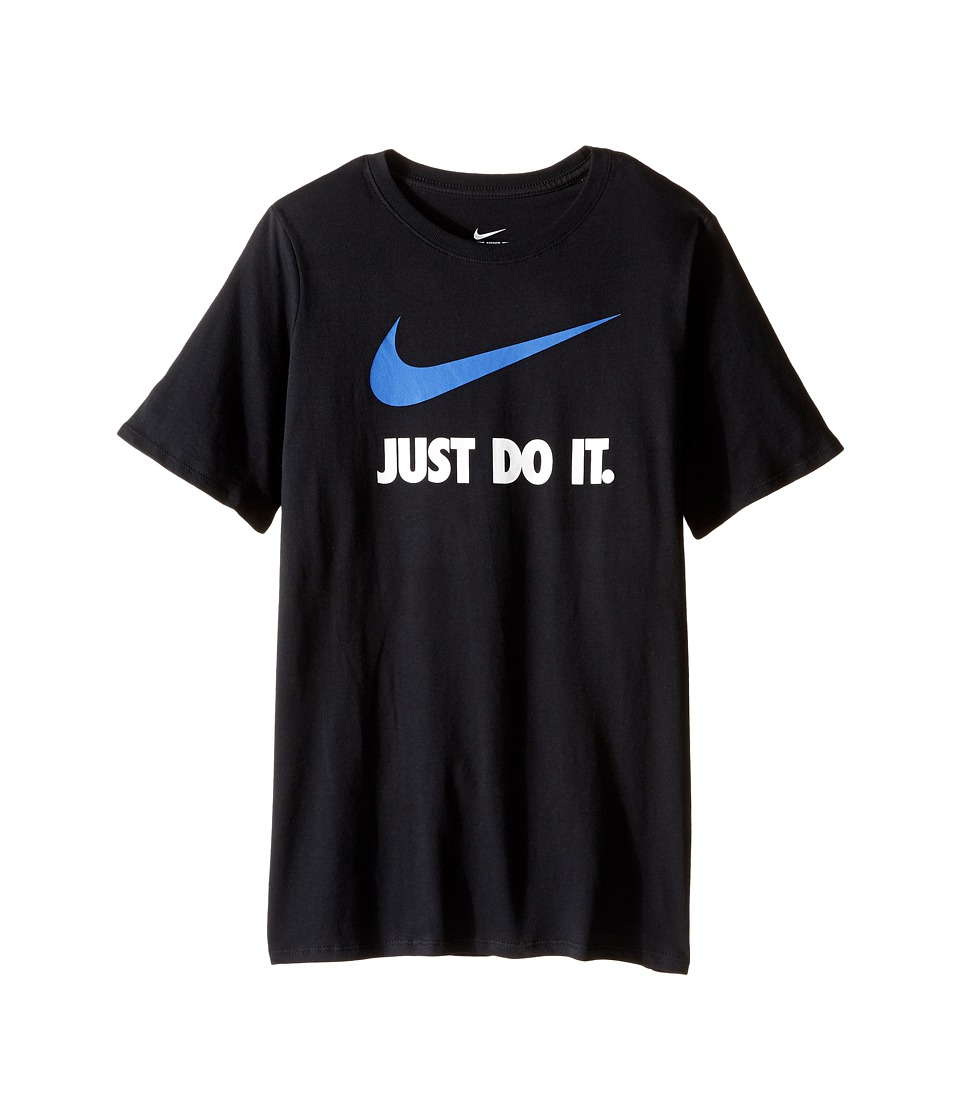 Nike Kids - JDI Swoosh Tee (Little Kids/Big Kids) (Black/Black/Game Royal) Boy's T Shirt
