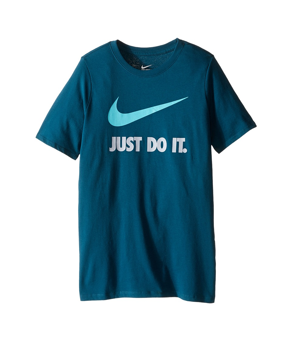 Nike Kids - JDI Swoosh Tee (Little Kids/Big Kids) (Midnight Turquoise/Midnight Turquoise/Washed Teal) Boy's T Shirt