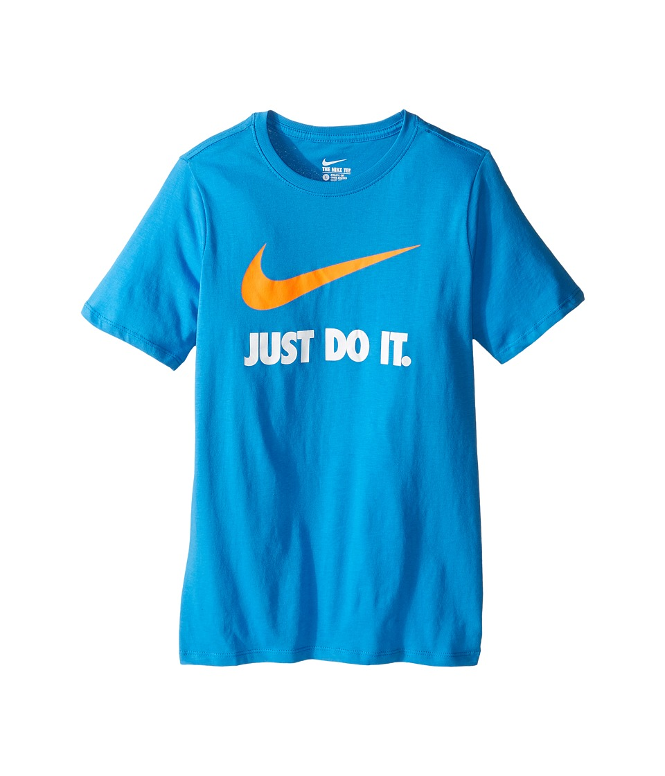 Nike Kids - JDI Swoosh Tee (Little Kids/Big Kids) (Light Photo Blue/Light Photo Blue/Total Orange) Boy's T Shirt