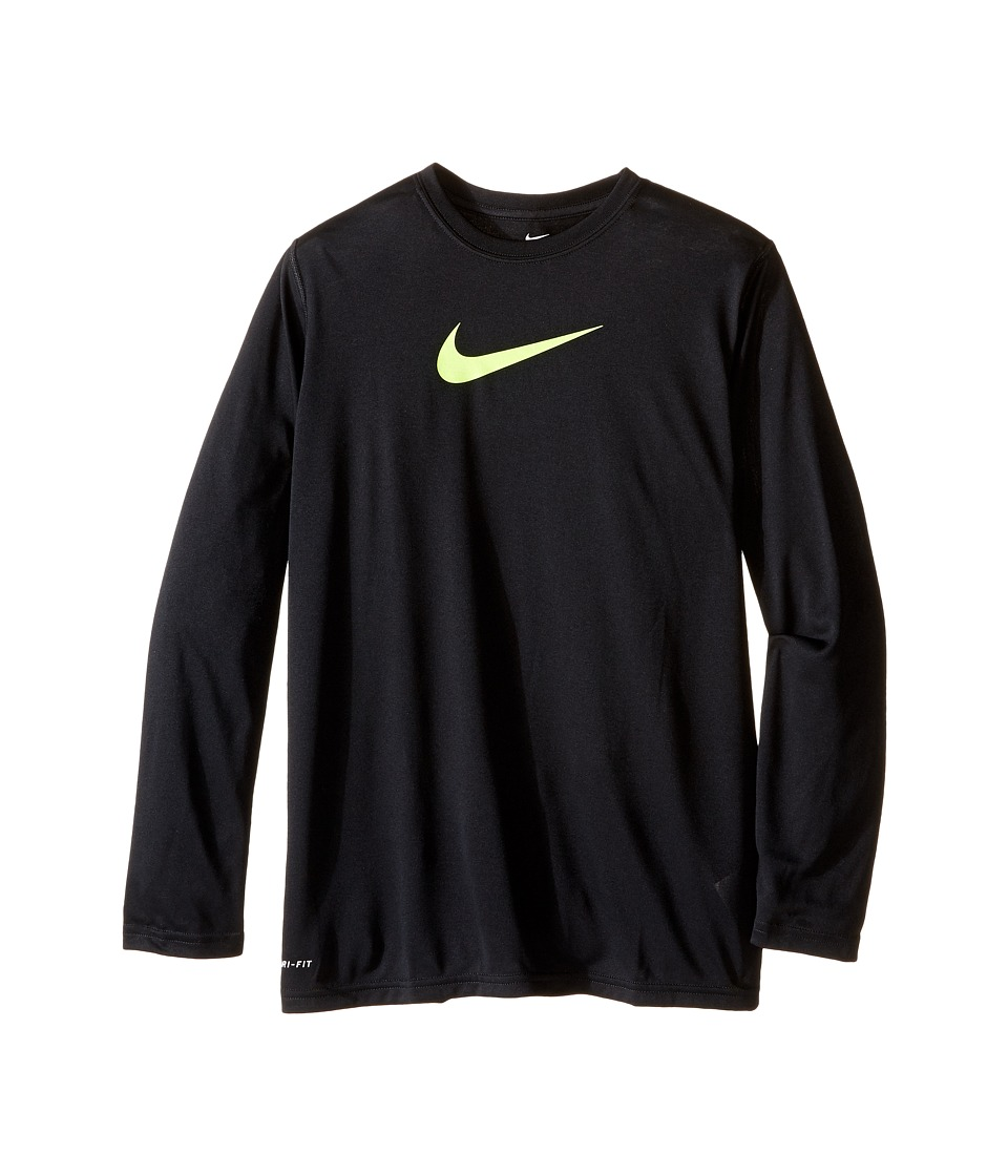 Nike Kids - Legends L/S Top (Little Kids/Big Kids) (Black/Volt) Boy's Long Sleeve Pullover