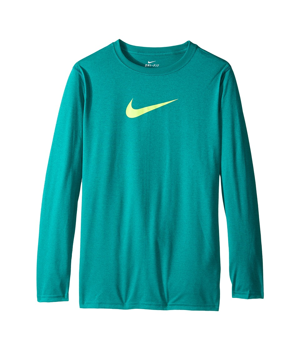 Nike Kids - Legends L/S Top (Little Kids/Big Kids) (Teal Charge/Volt) Boy's Long Sleeve Pullover