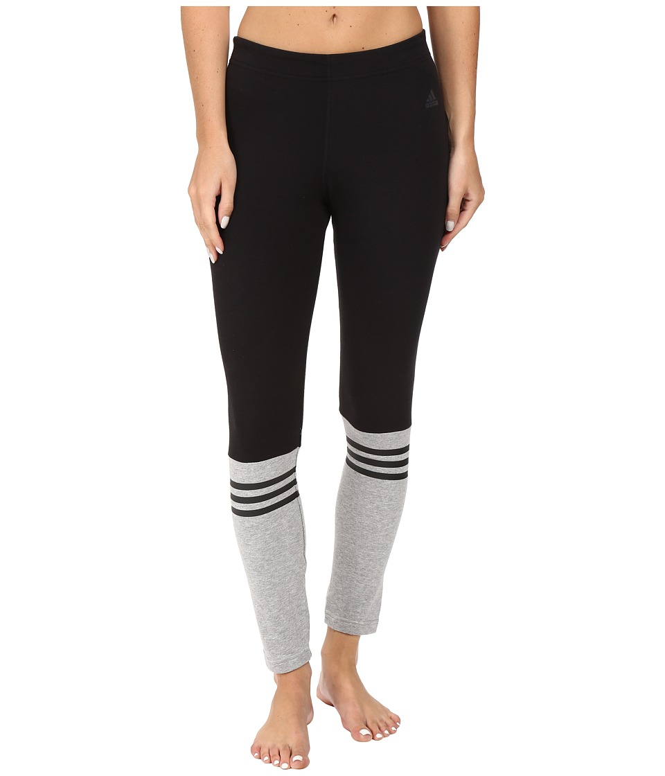 adidas - 3-Stripes Crew Leggings (Black/Medium Grey Heather) Women's Workout