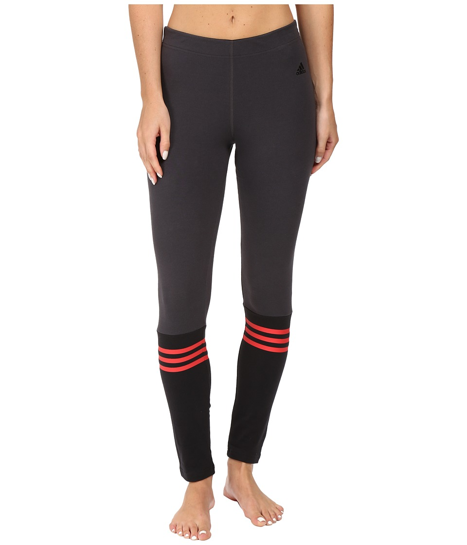 adidas - 3-Stripes Crew Leggings (Utility Black/Black/Ray Red) Women's Workout