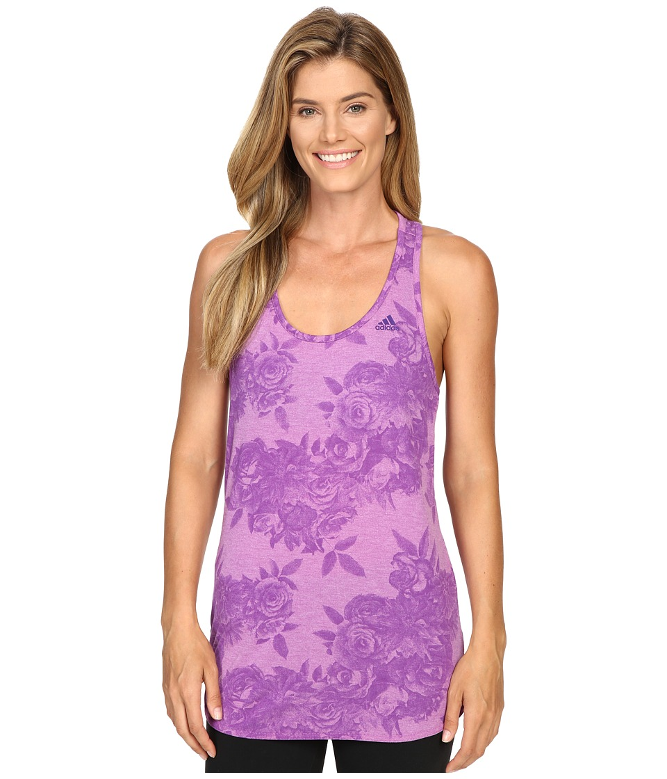 adidas - 24/7/365 Tonal Floral Print Tank Top (Shock Purple/Unity Purple Print) Women's Sleeveless
