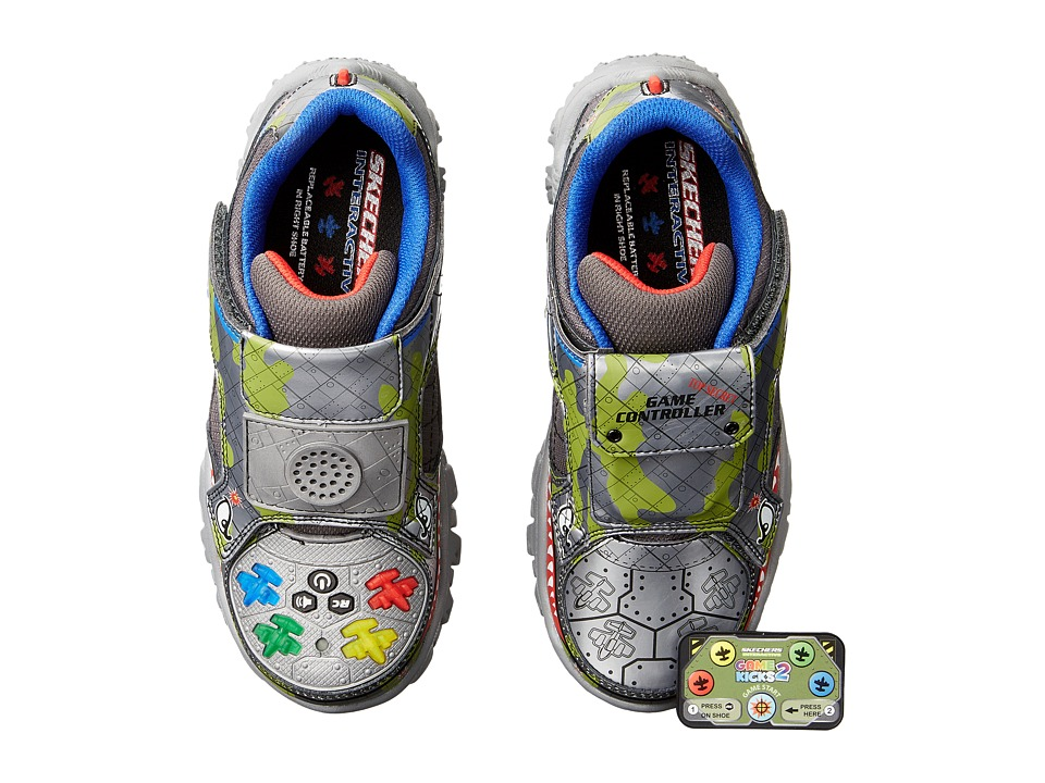 SKECHERS KIDS - Game Works (Little Kid/Big Kid) (Gunmetal/Multi) Boy's Shoes
