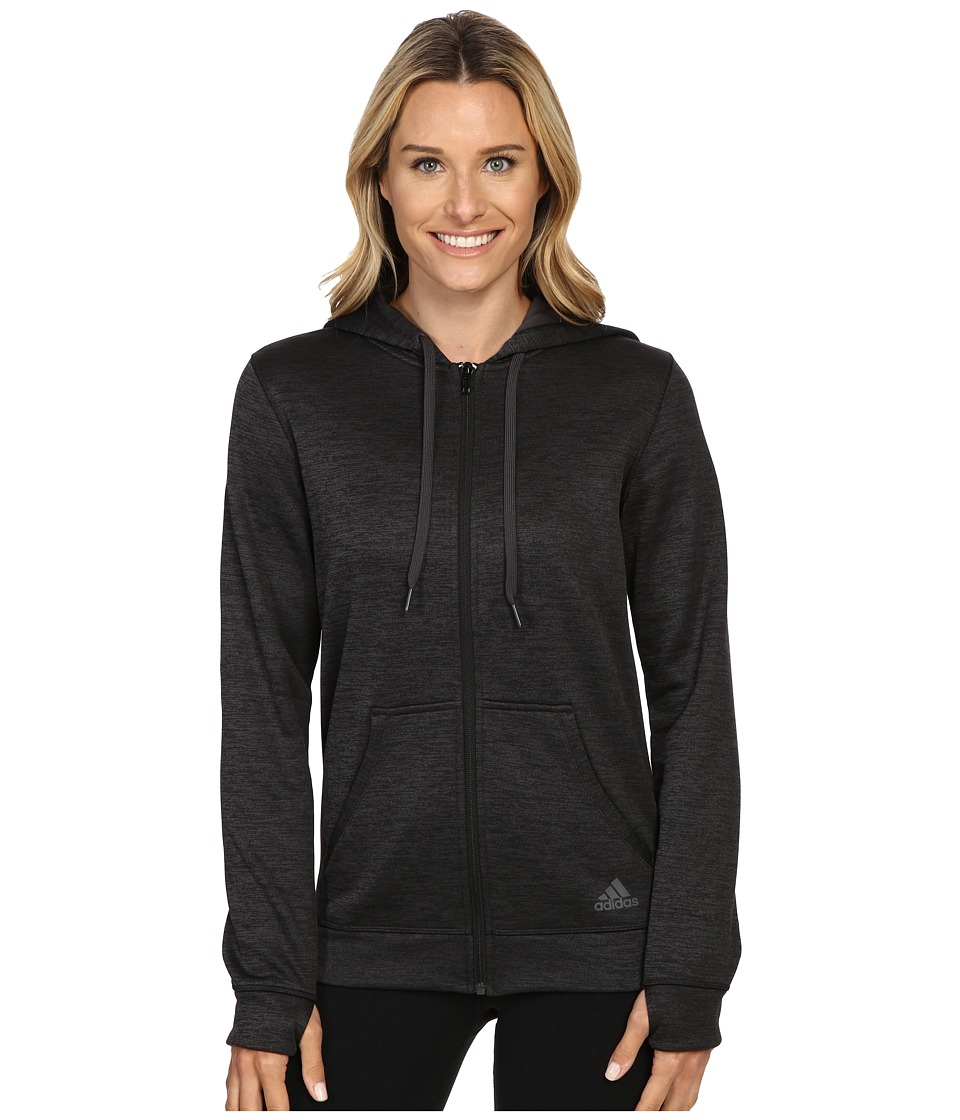 adidas - Team Issue Fleece Full-Zip Hoodie (Utility Black Heather) Women's Sweatshirt