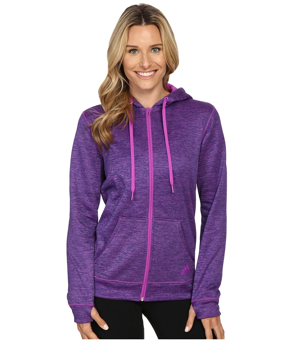 adidas - Team Issue Fleece Full-Zip Hoodie (Shock Purple Heather) Women's Sweatshirt