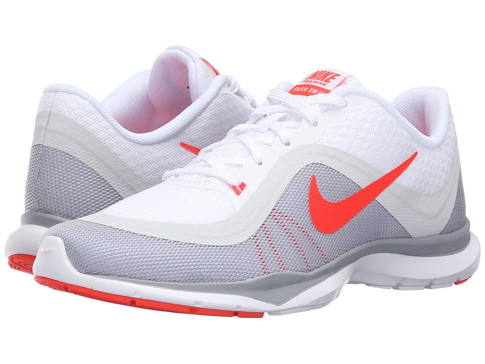 Nike - Flex Trainer 6 (White/Pure Platinum/Wolf Grey/Bright Crimson) Women's Cross Training Shoes