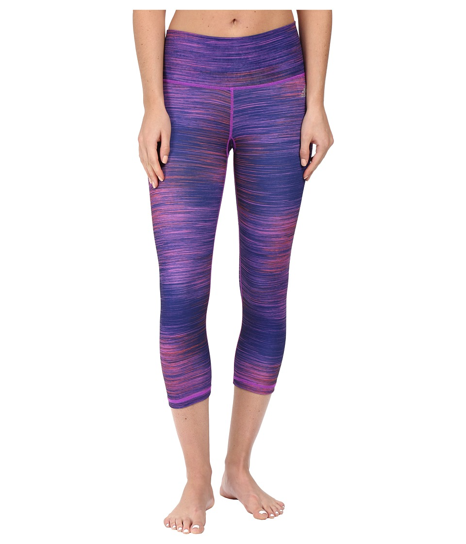 adidas - Performer Mid-Rise 3/4 Tights (Shock Purple Print/Matte Silver) Women's Workout