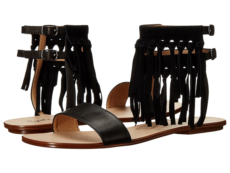 Splendid Taryn Black Vintage Leather-Suede Sandals