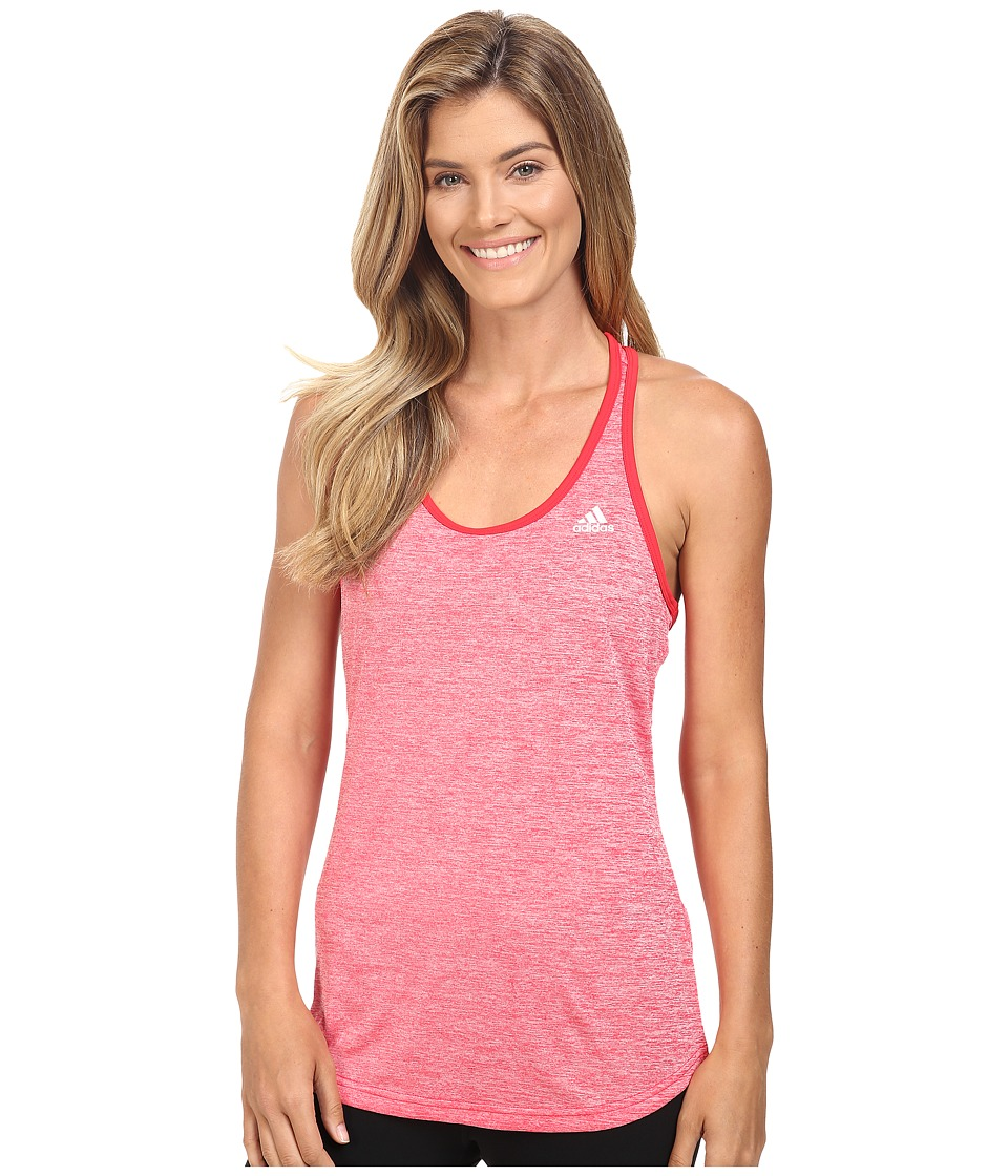 adidas - Keyhole Tank Top (Ray Red Heather/Matte Silver) Women's Sleeveless