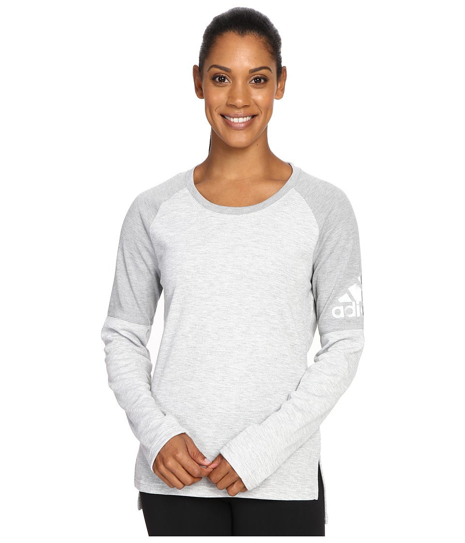 adidas - Performer Cover-Up (Medium Grey Heather/MGH Solid Grey/Matte Silver) Women's Long Sleeve Pullover