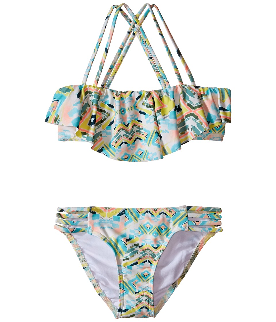 O'Neill Kids - Cabo Strappy Ruffle Top Bikini (Little Kids/Big Kids) (Sea Pea) Girl's Swimwear Sets