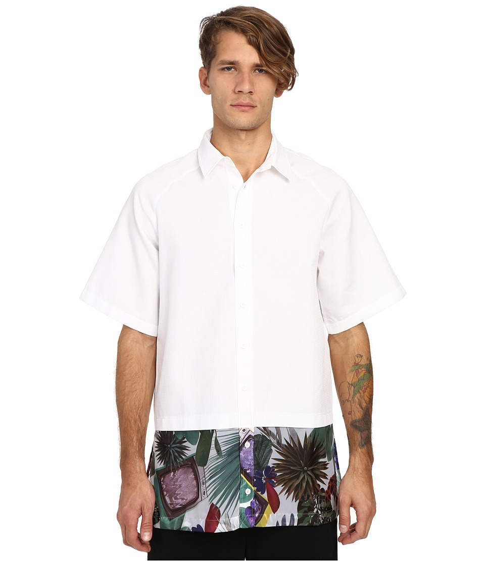 DBYD - Flower Print Oversized Shirt (White) Men's Long Sleeve Button Up