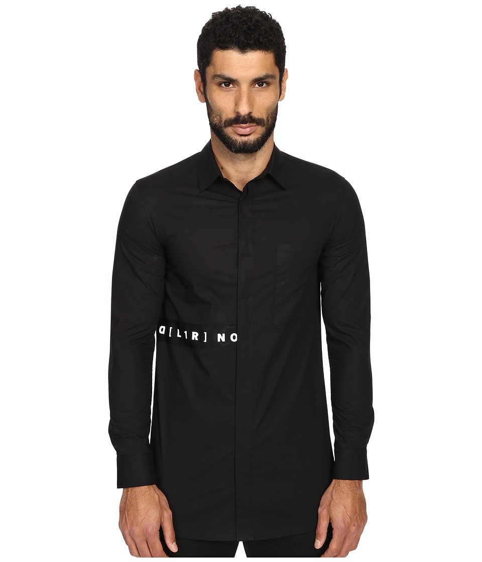 DBYD - Side Stripe Patched Shirt (Black) Men's Long Sleeve Button Up