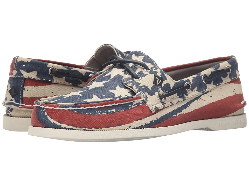 Sperry - A/O Stars Stripes (Red/White/Blue) Men's Moccasin Shoes