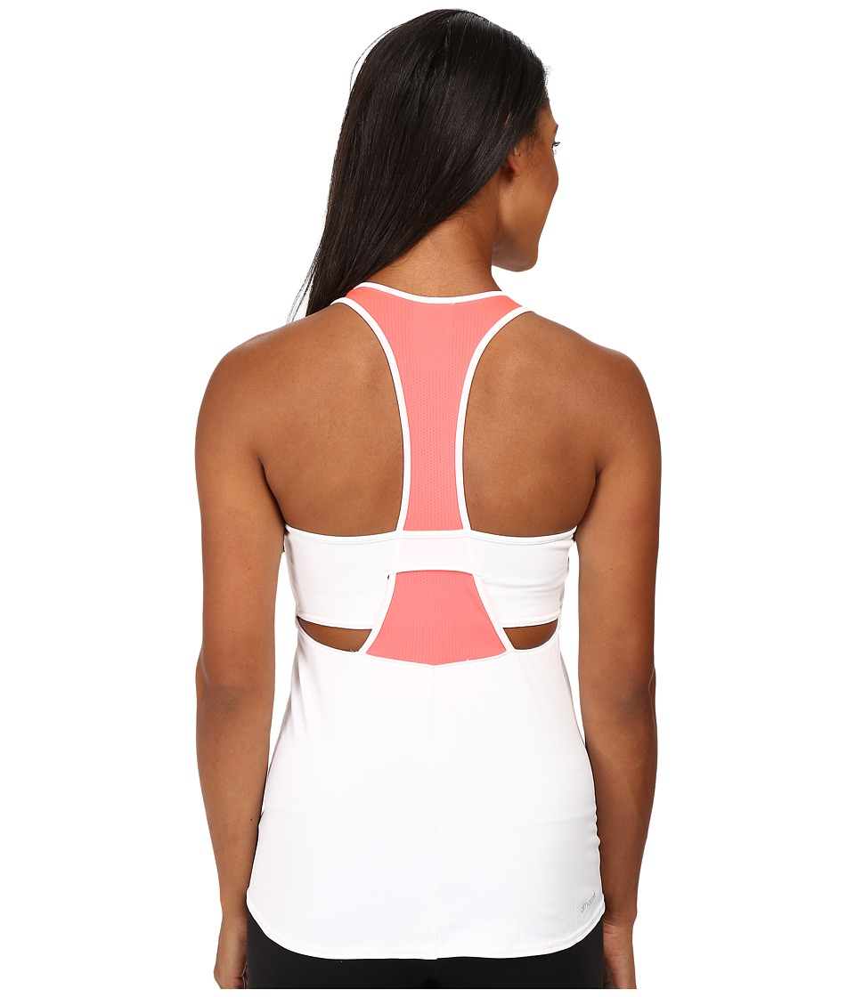 adidas - Pro Tank Top (White/Flash Red) Women's Sleeveless
