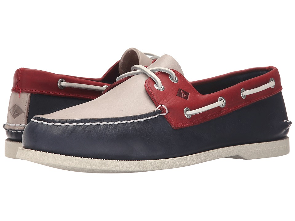 Sperry Top-Sider - A/O 2-Eye Sarape (Navy/White/Red) Men's Lace up casual Shoes