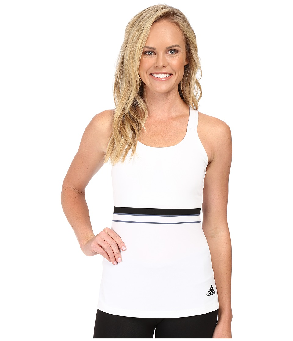 adidas - All Premium Strappy Tank Top (White/Black) Women's Sleeveless