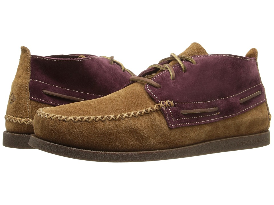 Sperry - A/O Wedge Chukka Suede (Tan/Burgundy) Men's Lace up casual Shoes