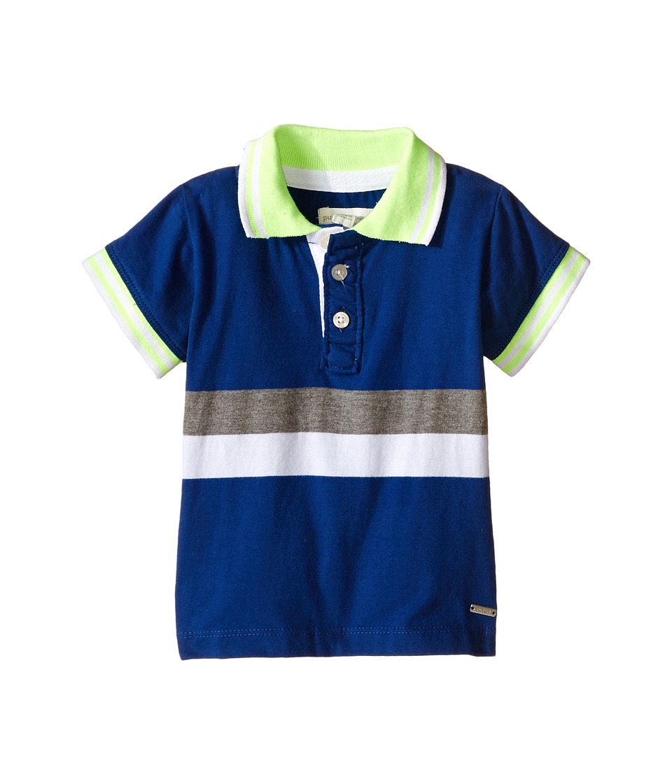 Pumpkin Patch Kids - Color Block Stripe Polo (Infant) (Victory Blue) Boy's Short Sleeve Button Up