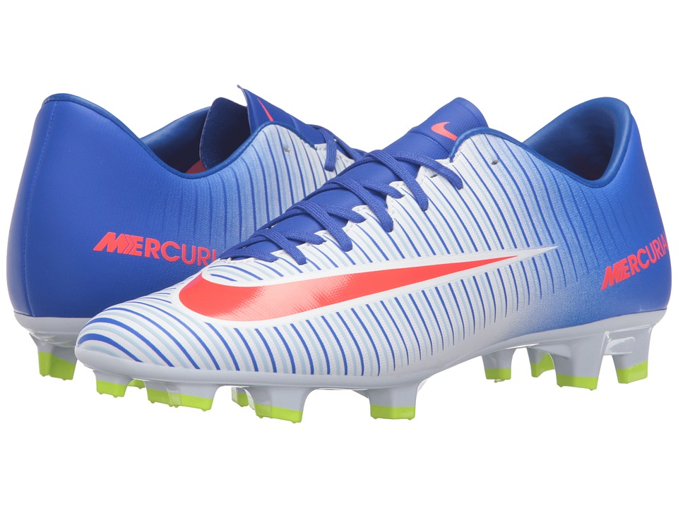 Nike - Mercurial Victory VI FG (White/Racer Blue/Volt/Bright Crimson) Women's Soccer Shoes