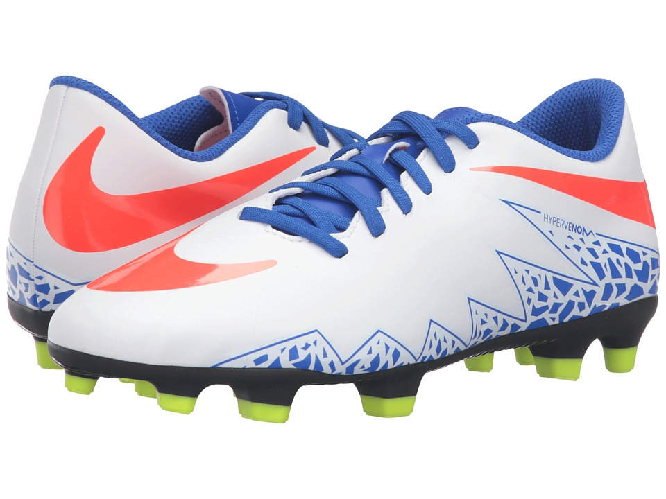 Nike - Hypervenom Phade II FG (White/Racer Blue/Volt/Bright Crimson) Women's Soccer Shoes