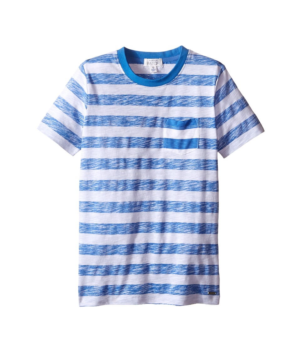 Pumpkin Patch Kids - Reverse Stripe Tee (Infant/Toddler/Little Kids/Big Kids) (Anchor Blue) Boy's Short Sleeve Pullover