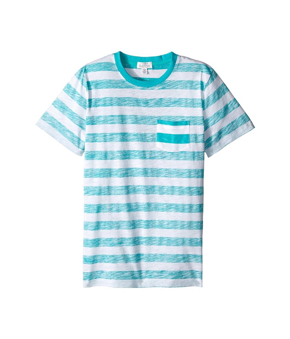 Pumpkin Patch Kids - Reverse Stripe Tee (Infant/Toddler/Little Kids/Big Kids) (Tropical Green) Boy's Short Sleeve Pullover