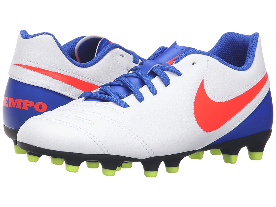 Nike - Tiempo Rio III FG (White/Racer Blue/Volt/Bright Crimson) Women's Soccer Shoes