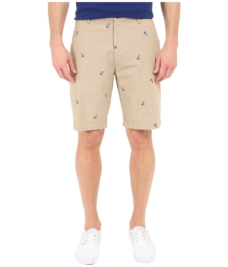 Dockers Men's - Perfect Short Classic Fit Flat Front (Anchor Print-British Khaki) Men's Shorts