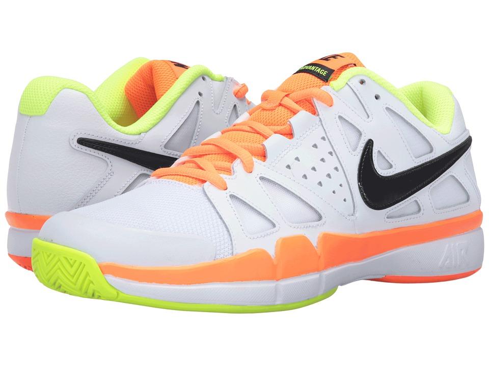 Nike - Air Vapor Advantage (White/Volt/Total Orange/Black) Men's Tennis Shoes