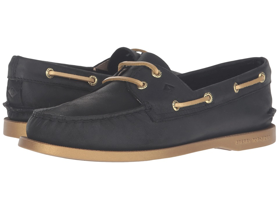 Sperry Top-Sider - A/O 2-Eye Bling (Black/Gold) Women's Lace Up Moc Toe Shoes
