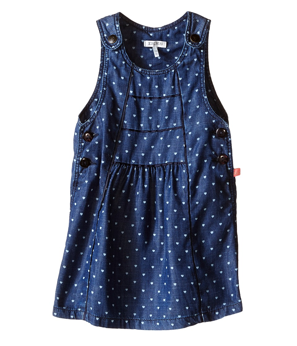 IKKS - Chambray Denim Jumper Dress with Heart Print Adjustable Straps (Infant/Toddler) (Indigo Print) Girl's Dress
