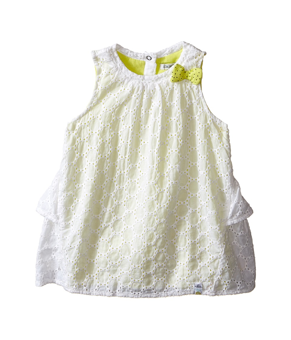 IKKS - Eyelet Sleeveless Dress Over Neon Yellow Jersey with Bow Ruffle Back w/ Snaps (Infant/Toddler) (Bright White) Girl's Dress