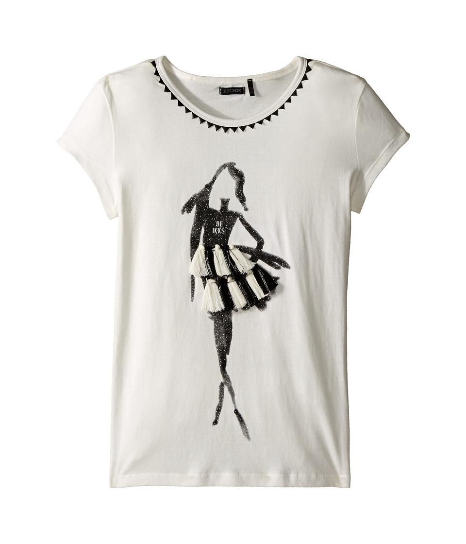 IKKS - 3D Tassel Tee (Little Kids/Big Kids) (Beige) Girl's T Shirt
