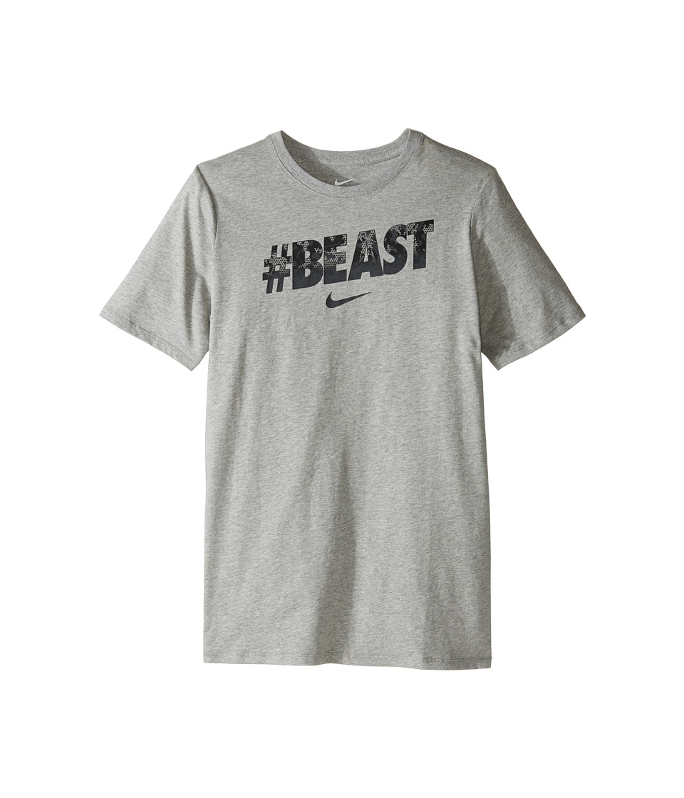 Nike Kids - #Beast Training T-Shirt (Little Kids/Big Kids) (Dark Grey Heather/Anthracite) Boy's T Shirt