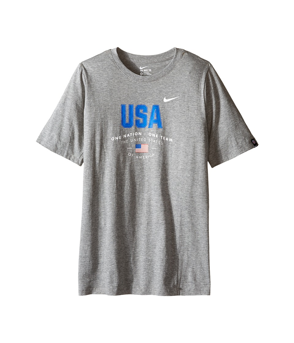 Nike Kids - USA Verbiage Tee (Little Kids/Big Kids) (Dark Grey Heather) Boy's Clothing