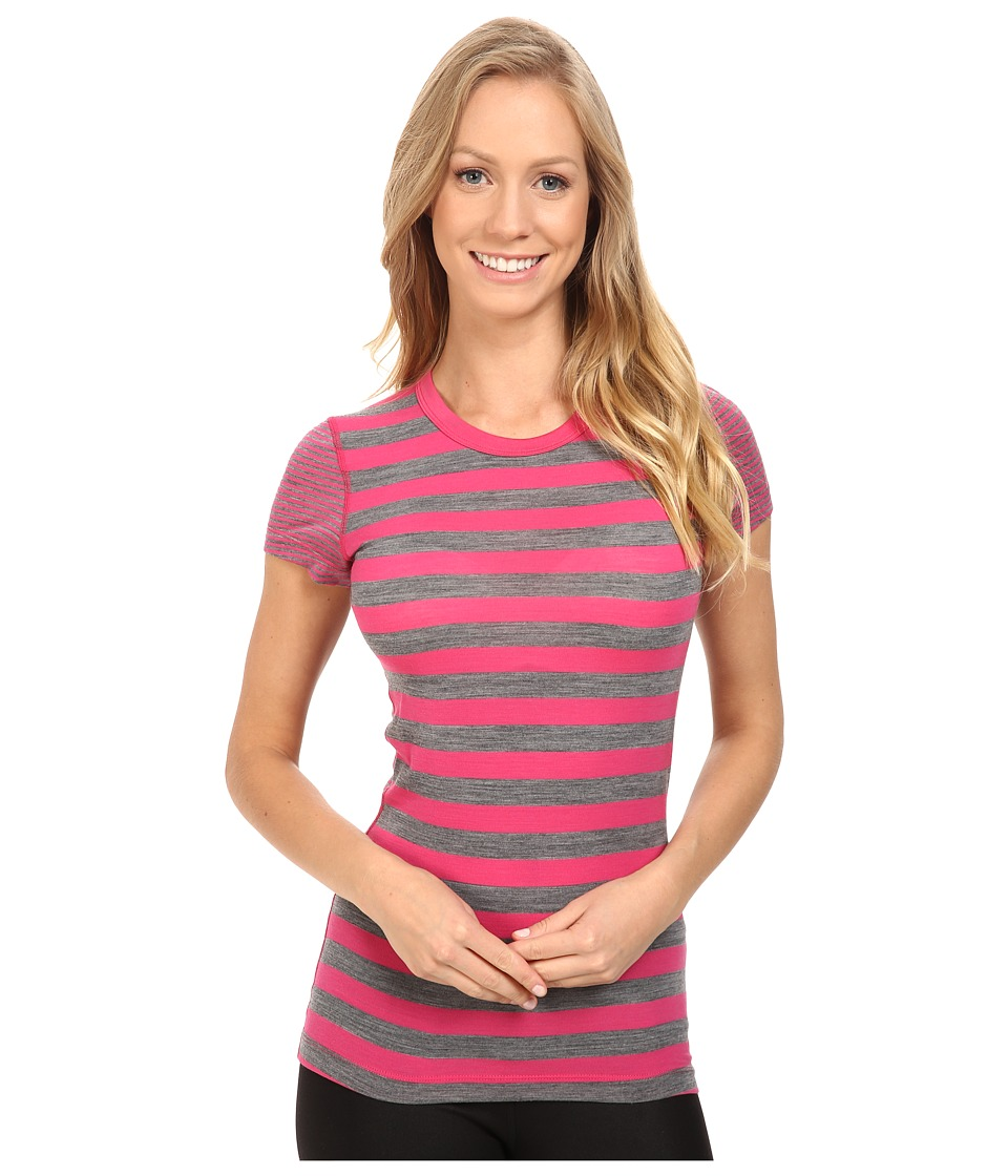 Icebreaker - Sprite Short Sleeve Crewe Stripe (Pop Pink/Gritstone/Stripe) Women's Clothing